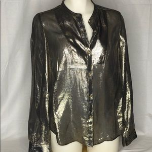 Juicy Couture Metallic Gold Silk Blend Blouse S